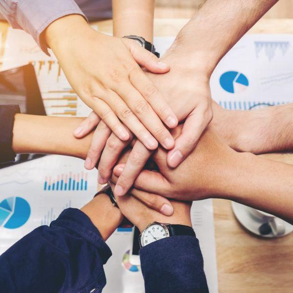 Business Teamwork joining hands team spirit Collaboration Concept